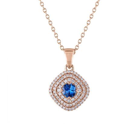 "18K Rose Gold Diamond + Blue Sapphire Pendant // 18"""