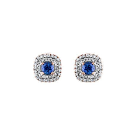 18K Rose Gold Diamond + Blue Sapphire Earrings II