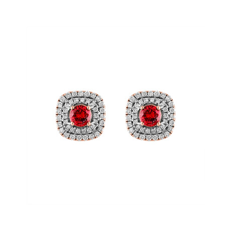 18K Rose Gold Diamond Ruby Earrings