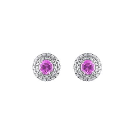 18K White Gold Diamond + Pink Sapphire Earrings I