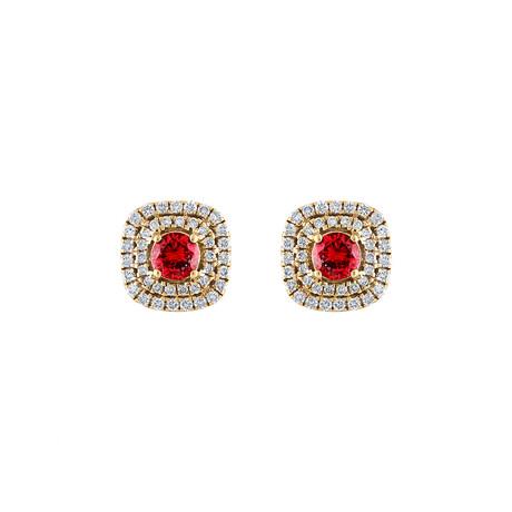 18K Yellow Gold Diamond Ruby Earring