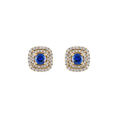 18K Yellow Gold Diamond + Blue Sapphire Earrings I