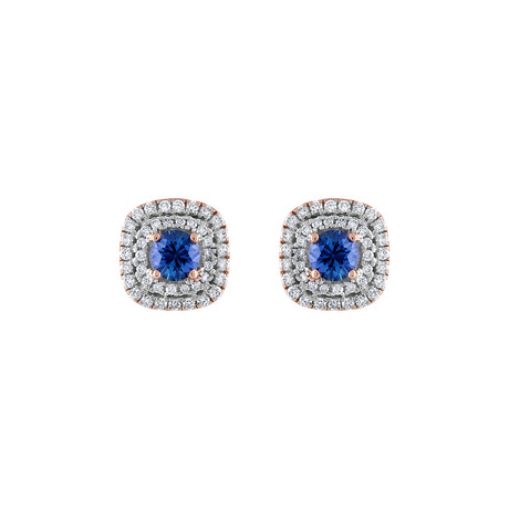 18K Rose Gold Diamond + Blue Sapphire Earrings IV