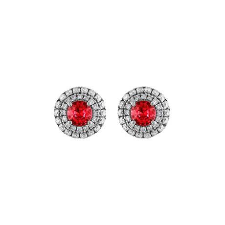 18K White Gold Diamond + Ruby Earrings I