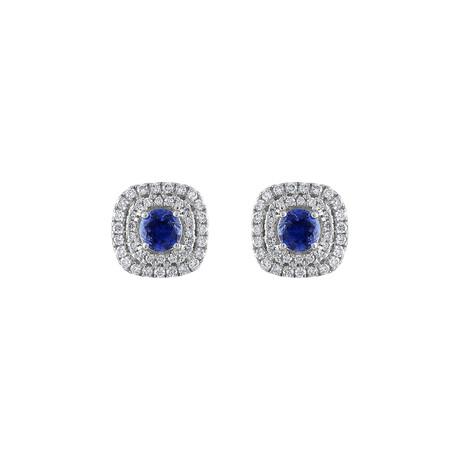 18K White Gold Diamond + Blue Sapphire Earrings I