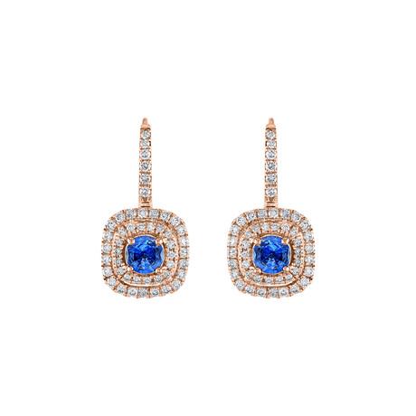 18K Rose Gold Blue Sapphire Drop Earrings