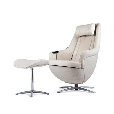 Nouhaus Modern Massage Chair + Ottoman // Elder White