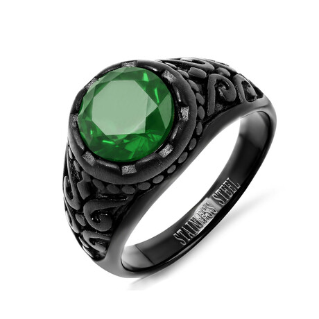 Anthony Jacobs // Stainless Steel + Simulated Diamond Ring // Black + Green (Size 9)