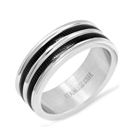 Anthony Jacobs // Stainless Steel Inlay Ring // Metallic + Black (Size 9)