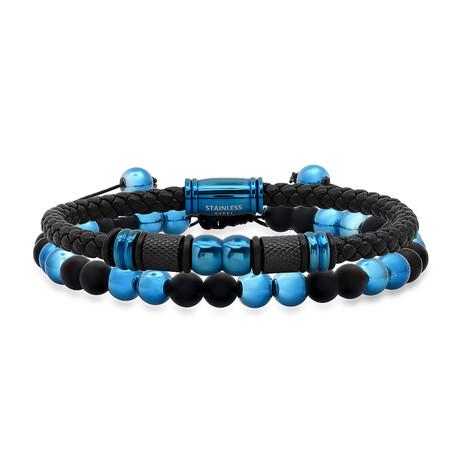 Anthony Jacobs // Braided + Beaded Bracelet Set // Black + Blue