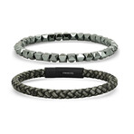 Anthony Jacobs // Braided Leather + Studded Hematite Bracelet Set // Black + Gray
