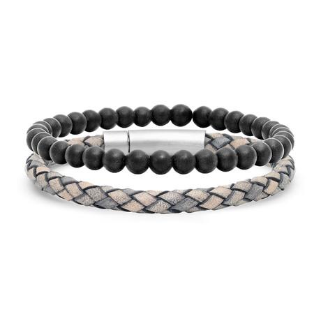 Anthony Jacobs // Braided Leather + Lava Beaded Bracelet Set // Gray + Metallic + Black