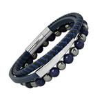 Anthony Jacobs // Leather + Stainless Steel + Lapis Hematite Beaded Bracelet Set // Blue + Metallic + Gray