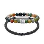 Anthony Jacobs // Braided Leather + Beaded Bracelet Set // Multicolor