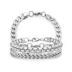 Anthony Jacobs // Stainless Steel Cuban + Box Chain ID Bracelet Set // Metallic