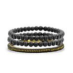 Anthony Jacobs // Braided Bracelet + Lava Beaded Bracelet Set // Black + Gold