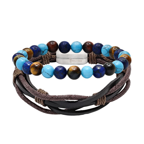 Anthony Jacobs // Layered Leather + Beaded Bracelet Set // Brown + Blue