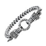 Anthony Jacobs // Stainless Steel + Simulated Diamond Dragon Head Bracelet // Metallic