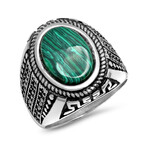 Anthony Jacobs // Stainless Steel + Simulated Diamond + Agate Statement Ring // Metallic (Size 9)