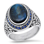 Anthony Jacobs // Stainless steel + Tiger Eye + Simulated Diamonds Ring // Metallic + Blue (Size 9)