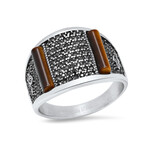 Anthony Jacobs // Stainless Steel + Tiger Eye + Cubic Zirconia Ring // Metallic + Brown (Size 9)