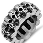 Anthony Jacobs // Oxidized Stainless Steel Skull Ring // Metallic (Size 9)