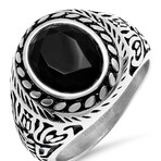 Anthony Jacobs // Stainless Steel Floral Accented Ring // Metallic (Size 9)