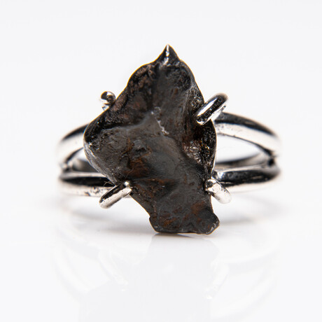 Genuine Campo del Cielo Meteorite Ring // Sterling Silver Band // Size 5