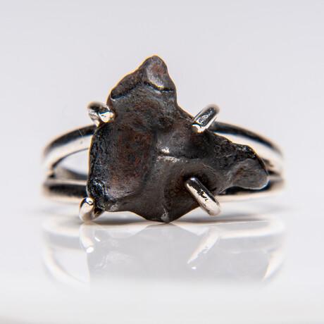 Genuine Campo del Cielo Meteorite Ring // Sterling Silver Band // Size 6