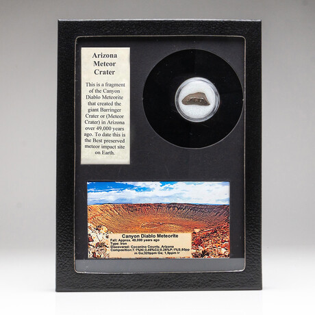 Genuine Canyon Diablo Meteorite Crater + Display Box
