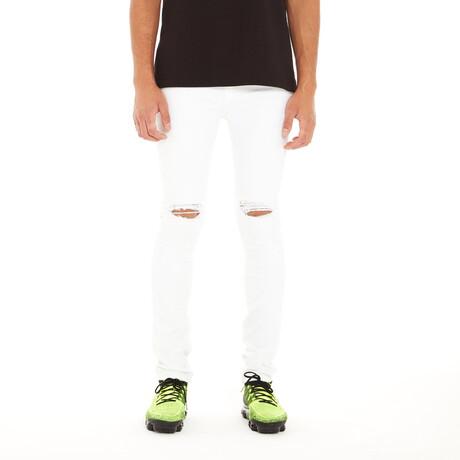 Punk Super Skinny Stretch Jeans // White (30WX34L)