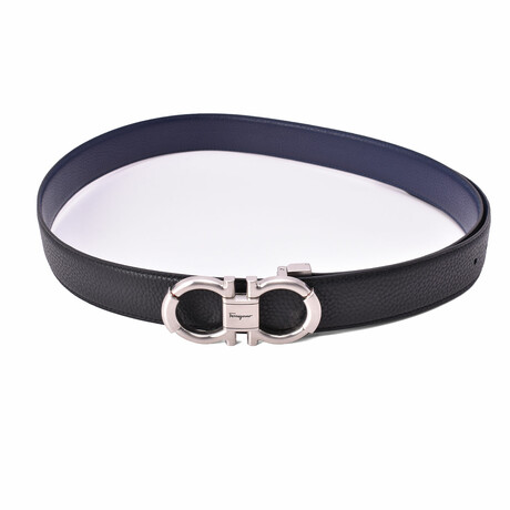 "Salvatore Ferragamo Pebbled Cut-To-Fit Reversible Belt // Black + Blue (Max Length 40"")"