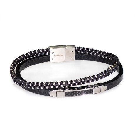 Dell Arte // Leather + Stainless Steel Double Layer Bracelet // Black + Silver