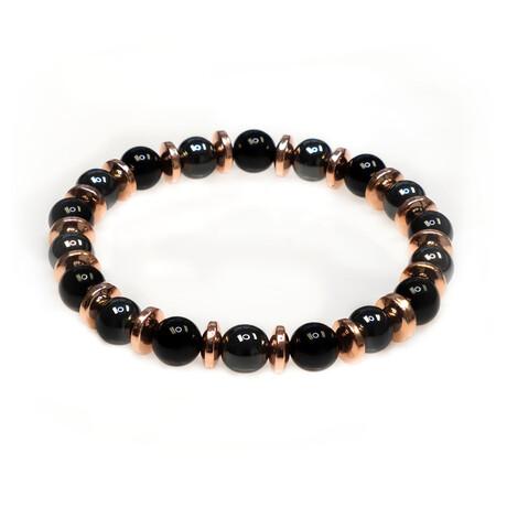 Dell Arte // Shiny Onyx + Hematite Stretch Bracelet // Multicolor