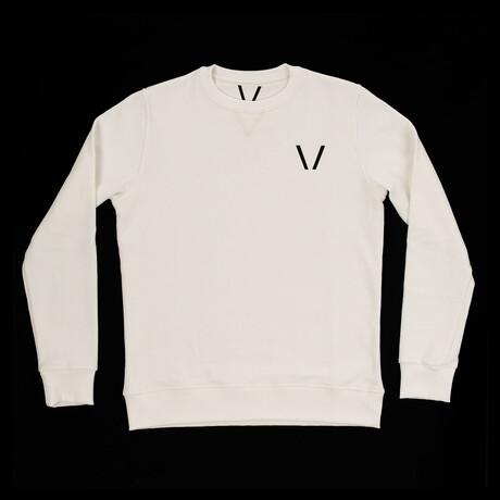 Aries Crew Neck Sweatshirt // White + Black (S)