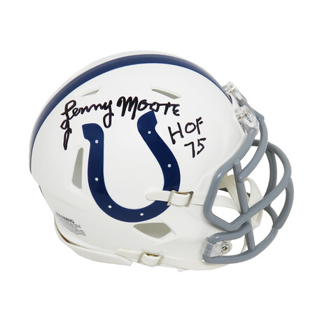 """Lenny Moore // Indianapolis Colts // Signed Riddell Speed Mini Helmet // w/ """"HOF'75"""" Inscription"""