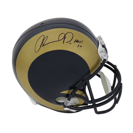 "Orlando Pace // Signed Rams 2000's Style Throwback Riddell Full Size Replica Helmet // w/ ""HOF'16"" Inscription"