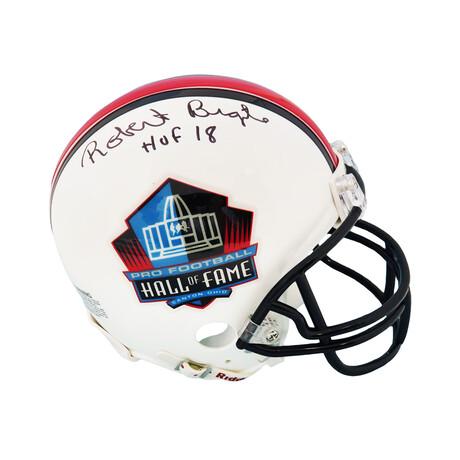 """Robert Brazile // Signed Hall of Fame Logo Riddell Mini Helmet // w/ """"HOF'18"""" Inscription"""