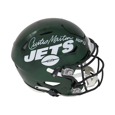 "Curtis Martin // New York Jets // Signed SpeedFlex Riddell Speed Authentic Helmet // w/ ""HOF'12"" Inscription"