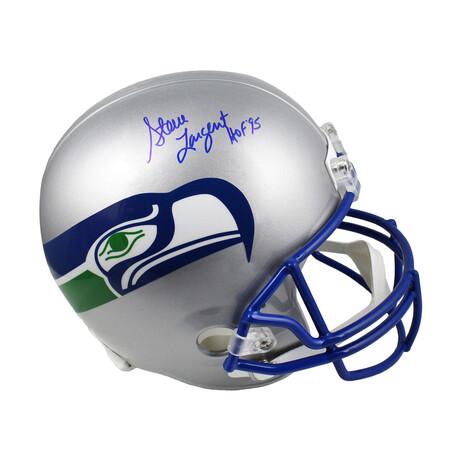 """Steve Largent // Seattle Seahawks // Signed Throwback Riddell Full Size Replica Helmet // w/ """"HOF'95"""" Inscription"""