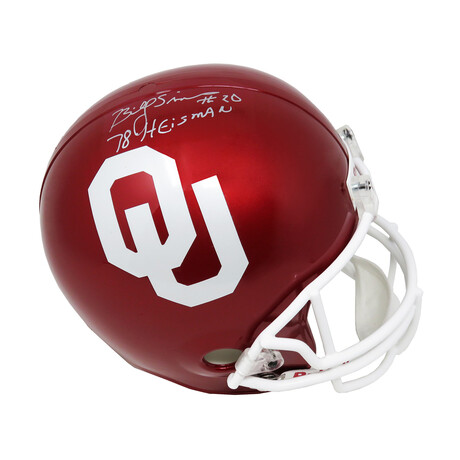 "Billy Sims // Oklahoma Sooners // Signed Riddell Full Size Replica Helmet // w/ ""78 Heisman"" Inscription"