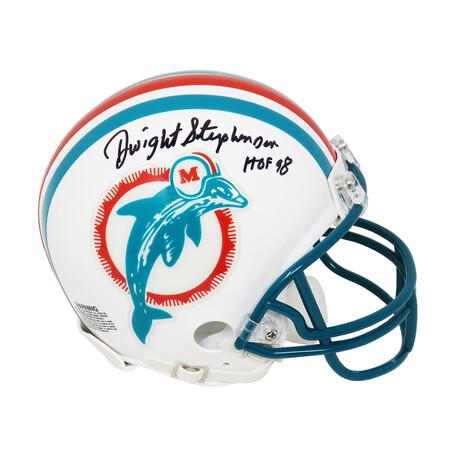 "Dwight Stephenson // Miami Dolphins // Signed Riddell Mini Helmet // w/ ""HOF'98"" Inscription"