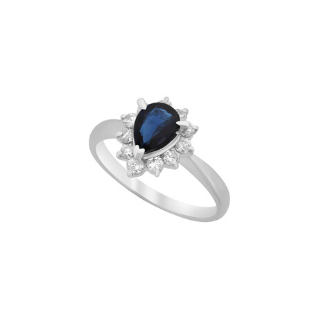 Estate Platinum Sapphire + Diamond Ring II // Ring Size: 6 // Pre-Owned