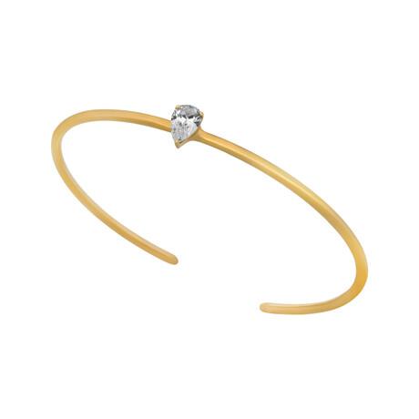 Estate 18k Yellow Gold Pear Shape Diamond Open Bracelet // 16cm // Pre-Owned