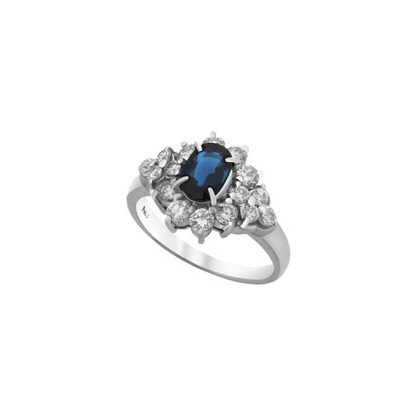 Estate Platinum Sapphire + Diamond Ring I // Ring Size: 6.25 // Pre-Owned