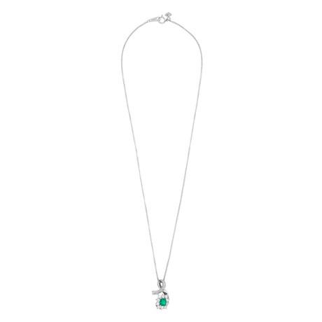 "Estate Platinum Diamond + Emerald Necklace // 18"" // Pre-Owned"