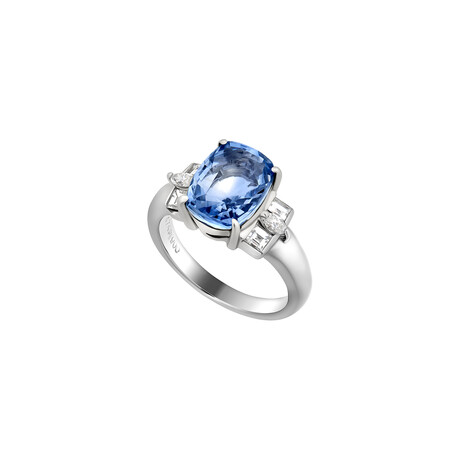 Estate Platinum Sapphire + Diamond Ring // Ring Size: 6 // Pre-Owned