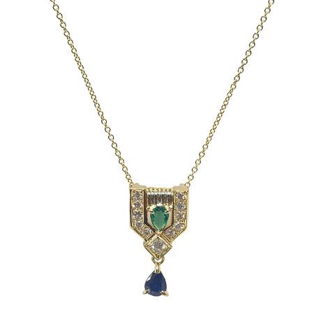 "Estate 18k Yellow Gold + Platinum Emerald, Sapphire, Diamond Necklace // 16"" // Pre-Owned"