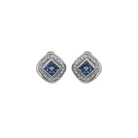 Estate 14K White Gold Diamond + Sapphire Earrings // Pre-Owned