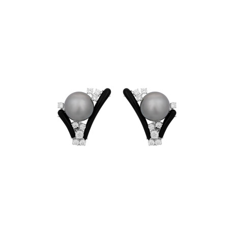 Estate 18k White Gold Diamond + Onyx and Pearl Earrings // Pre-Owned